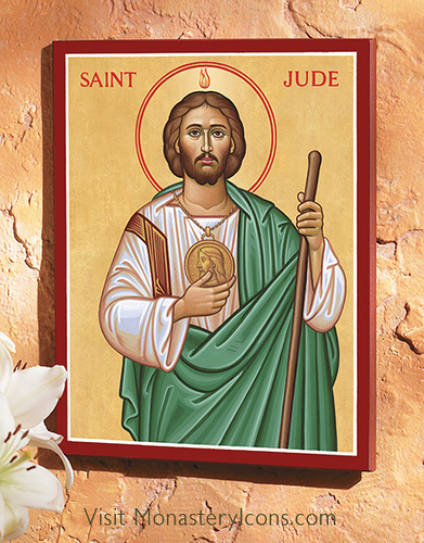 Saint Jude with flame above head.