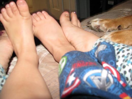cuddling feet