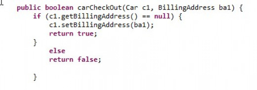 carCheckOut method illustrates the first use of it...then..else programming logic