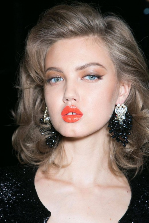Orange lips were featured at Dsquared2.
