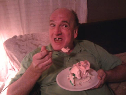 Me eating ice cream at my daughter, Angie Nash's house.