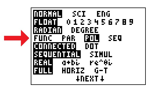"Press the ""MODE"" key to switch to polar or parametric coordinates, ""POL or ""PAR.""  The default is rectangular, ""FUNC."" (TI-84 screen shot)"