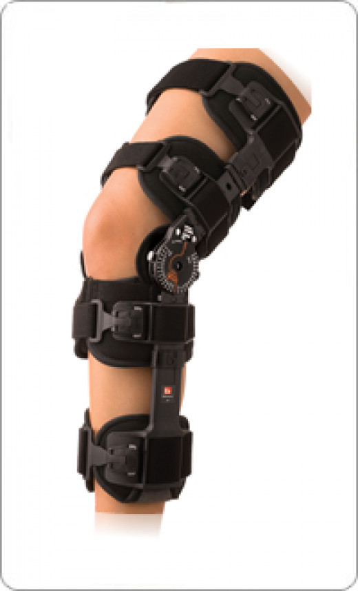 A standard range of motion brace used to limit the range of motion of the knee joint