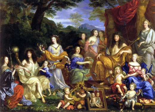 Characters from left to right: The Queen Henrietta Maria of France (1609); Philippe of France, Monsieur (1640); his daughter Marie Louise (1662); his wife Henrietta of England (1644); the queen Mother Anne of Austria; King Louis XIV ; their children,