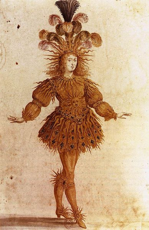 "Louis XIV aged 15  made his debut at court in a ballet, ""Ballet de la Nuit"", in 1653. This court ballet began at sundown did not end until the following morning. Louis XIV appeared in 5 of them. The most famous dance of Ballet de la Nuit portrays Lou"