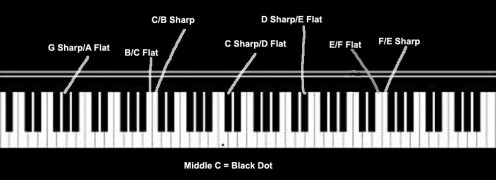 Sharps and flats on a piano.  Moving left is lower in pitch; moving right is higher in pitch
