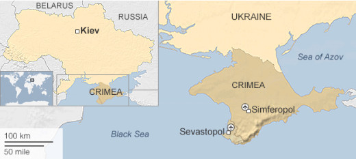 Crimea is situated on the southern tip of Ukraine and to the west of southern Russian lands.