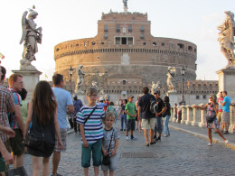 The children pictured in front of Castello St. Angelo