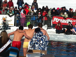 2014 Polar Bear Dip in Lake Couchiching, Orillia, Ontario, Some people jumped in as a group.