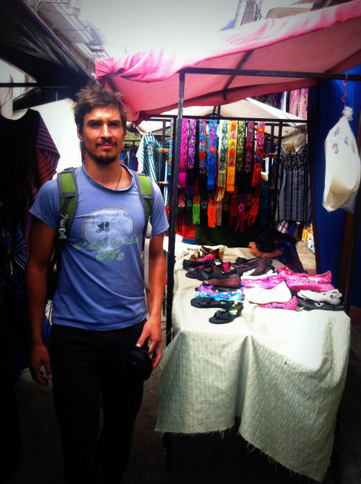 Andy at the markets in the lakeside village of Santiago