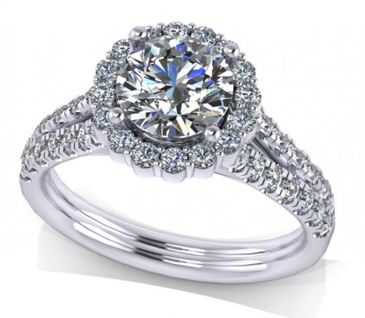 A Moissanite engagement ring