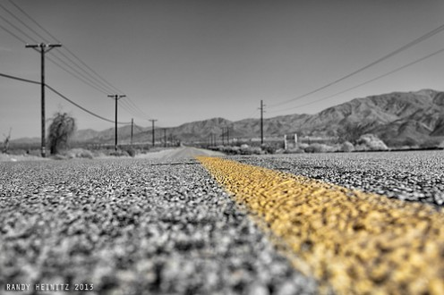 A road through California desert country, the setting for the first Odd Thomas novel by Dean Koontz and the film based on the book.