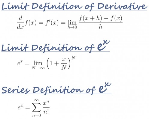 You'll need these definitions to prove that the derivative of e^x is e^x.