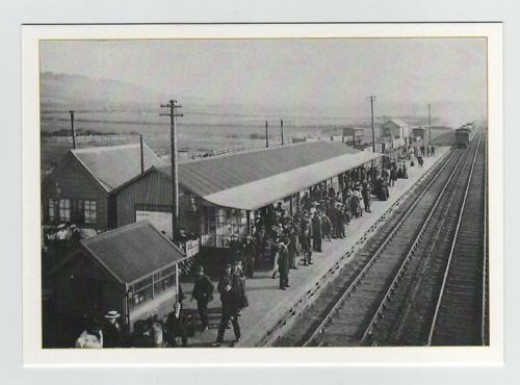 Another view of Eston Station in early NER days with the backdrop of fields behind Normanby in the near distance