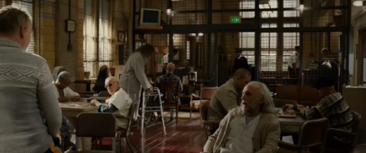 Stan Lee Cameo in Thor: The Dark World  (Patient sitting in front of guy using walker)