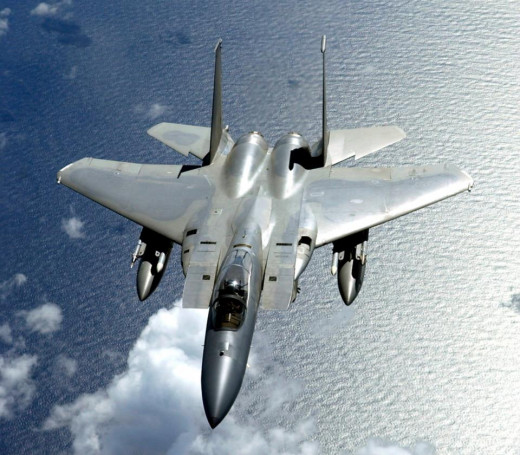 F-15 aircraft are used as air-to-air fighter jets.