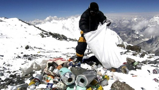 Collecting trash on Mt. Everest