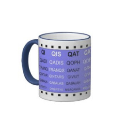 Q words without the U Scrabble Mug