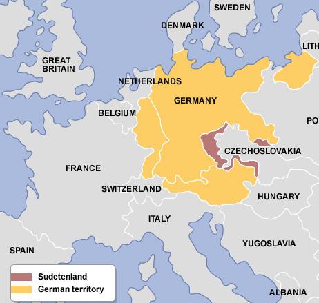 1938 Germany annexes Sudatenland