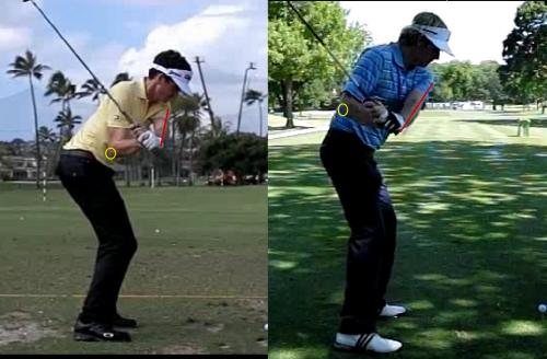 No Throwin' Bows: Keegan Bradley (left) and Brandt Snedeker (right) do excellent jobs of keeping the trailing elbow tight against the torso.