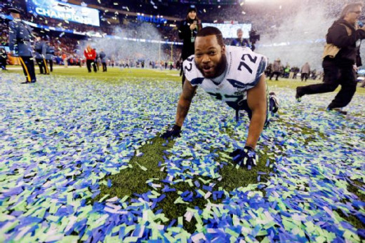 Michael Bennett celebrates after Seattle's 43-8 victory in Super Bowl 48.