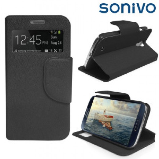 The Sneak Peek sports a classy leather design with built-in stand and S-View capabilities.