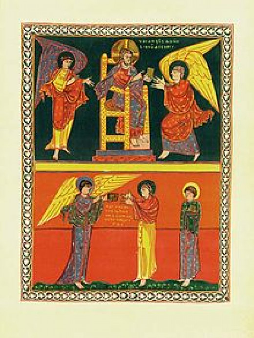 John receives his Revelation. Saint-Sever Beatus, 11th century.