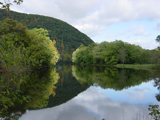 The Housatonic River near Kent, CT. The steep hillsides that come down to the water's edge are evident here.
