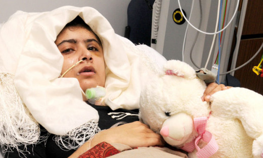 Malala after intense surgery in the UK.