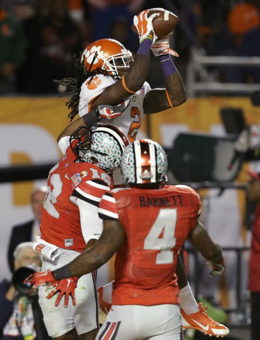 Clemson wide receiver, Sammy Watkins, catching the ball at the highest point, in crowded coverage for a touchdown versus Ohio State.