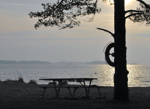 A lonely bench waiting for summer. Source; my own photos.