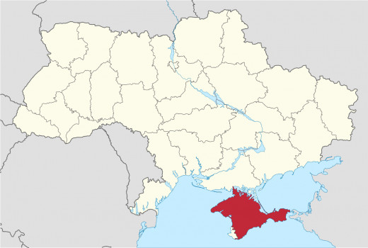 Ukraine (Crimea shown in red)