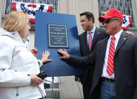Angel's Sister, Maria Wach, and brother, Izzy Mendez join Congressman Michael Grimm in admiring the dedication plague