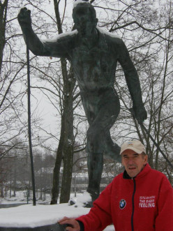 Jouko Grip has his own statue portraying him his medal-winning Nordic skiing form (photo in 2013). Respect Sport Against Violence Project.