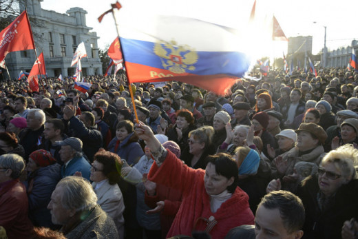 Pro-Russian demonstrators on display in Crimea.
