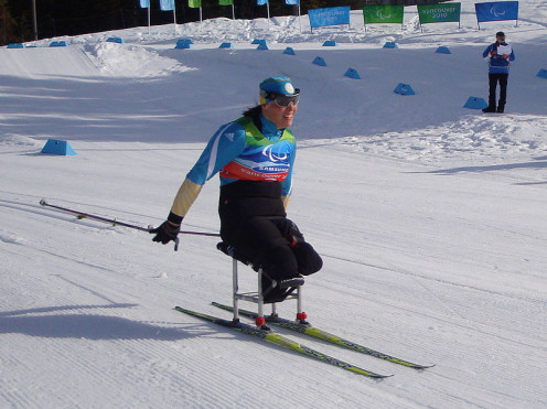 Olena Iurkovska, a Paralympic cross-country skier in the 2010 Winter Paralympic Games.
