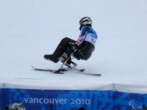 Alan Skeels-Piggins from Great Britain in the Men's Slalom (Sitting), at the Vancouver 2010 Winter Paralympics.