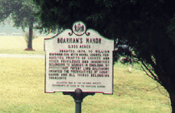 Sign designating the Boarman Manor location near Bryantown in the summer of 2001.