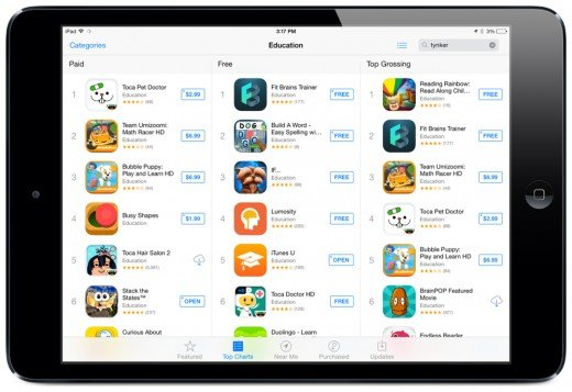 The Top Charts for Education: Screenshot by Jonathan Wylie