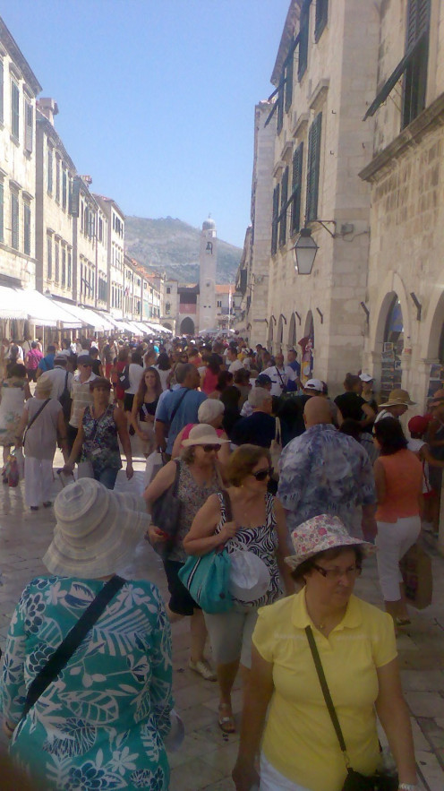 The crowded Old City in Dubrovnik during the summer time