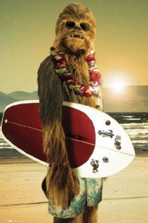 Chewbacca  Holding A Surf Board.