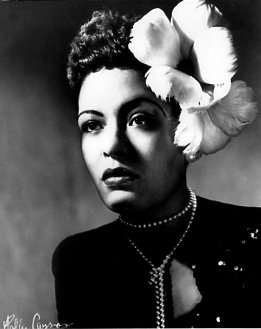 Black and White Photo of Billie Holiday.