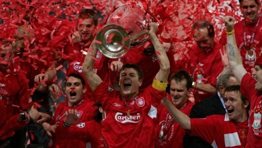 Liverpool captain Steven Gerrard holding the Champions League trophy after an incredible performance