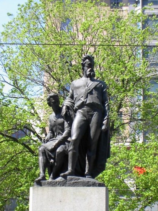 This is the Burke and Wills Monument in Melbourne, Australia. Near the site of the fictional murder.