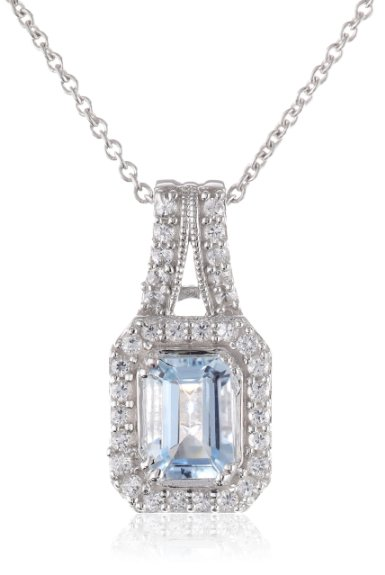 Sterling Silver Octagon Shape Aquamarine Round Created White Sapphire Pendant Necklace, 18""