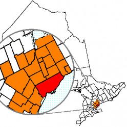 Map location of Toronto, Ontario