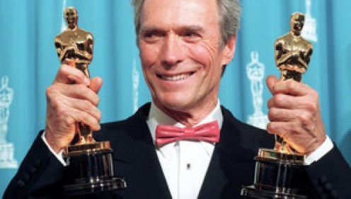 """CLINT """"DIRTY HARRY,"""" EASTWOOD, LOOKS SUPER IN A DESIGNER TUX."""