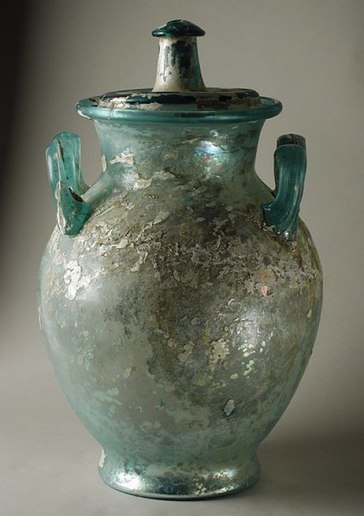 A funerary/cinerary urn once used to hold cremated human remains.