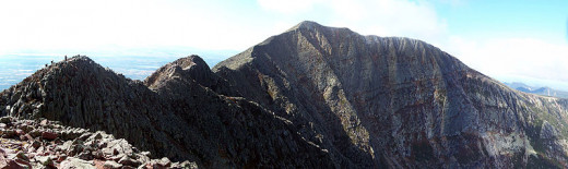 Baxter Peak (center) and the Knife Edge Trail (center to left), Mount Katahdin in Maine