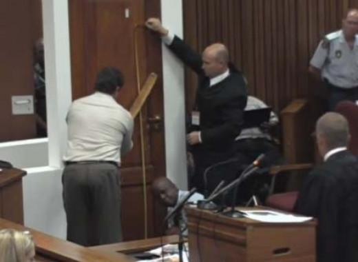 Vermeulen demonstrating the cricket bat hitting the toilet door.